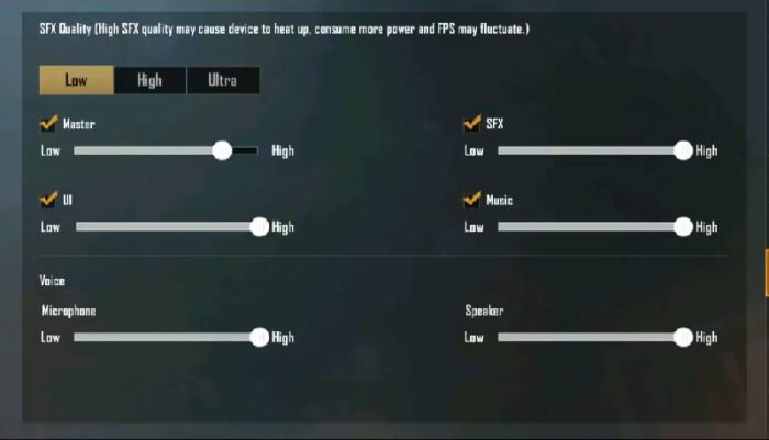Usersetting ultra audio sound 0.16.0 pubg mobile